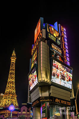 Las Vegas Photograph - Ballys Sign In Front Of The Eiffel Tower At Night by Aloha Art
