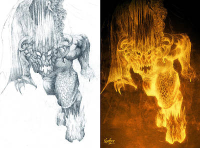 Mixed Media - Balrog Collage by Curtiss Shaffer
