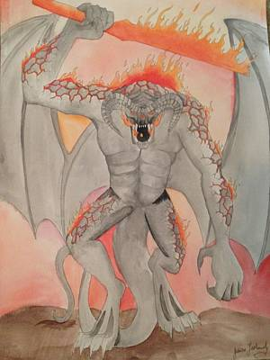 Balrog Painting - Balrog Watercolor  by Jessica Laskowsky