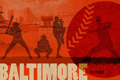 Baltimore Mixed Media - Baltimore Baseball Team City Sports Art by Design Turnpike