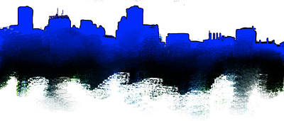 Los Angeles Skyline Painting - Baltimore Blue And Black Sklyline by Enki Art