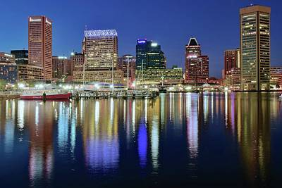Inner Harbor Wall Art - Photograph - Baltimore Blue Hour by Frozen in Time Fine Art Photography
