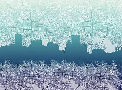 Abstract Skyline Royalty-Free and Rights-Managed Images - Baltimore City Skyline Map 2 by Bekim M