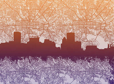 Abstract Skyline Royalty-Free and Rights-Managed Images - Baltimore City Skyline Map by Bekim M