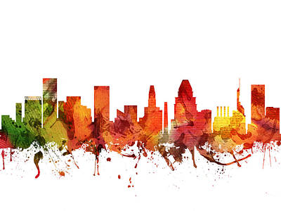 Baltimore Digital Art - Baltimore Cityscape 04 by Aged Pixel