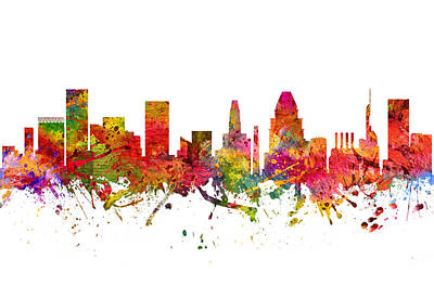 Baltimore Digital Art - Baltimore Cityscape 08 by Aged Pixel