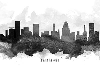 Maryland Digital Art - Baltimore Cityscape 11 by Aged Pixel