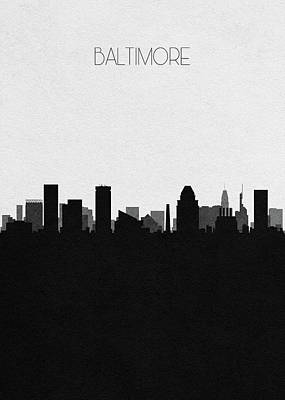 Drawing - Baltimore Cityscape Art by Inspirowl Design