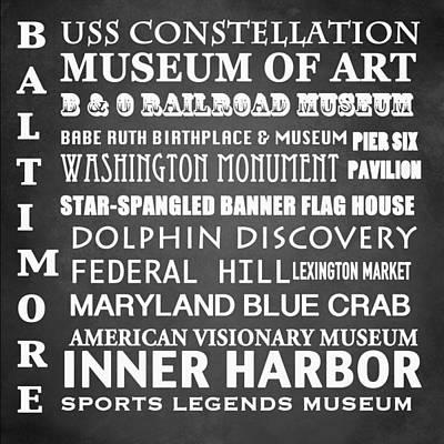 Inner Harbor Wall Art - Digital Art - Baltimore Famous Landmarks by Patricia Lintner