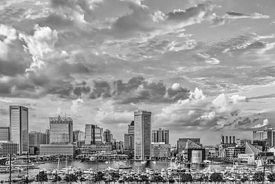 Photograph - Baltimore Harbor Skyline Bw by Susan Candelario