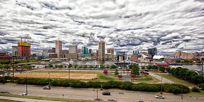 Photograph - Baltimore Inner Harbor Dramatic Clouds Panorama by Bill Swartwout