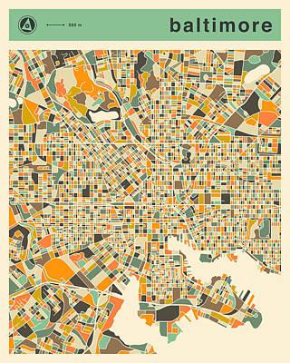 Baltimore Digital Art - Baltimore Map 2 by Jazzberry Blue