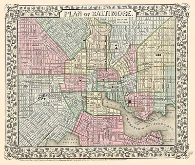 Baltimore City Drawing - Baltimore Maryland 1867 Map by Movie Poster Prints