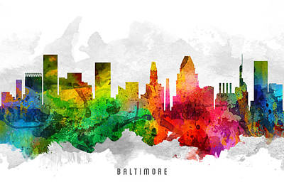 Baltimore Painting - Baltimore Maryland Cityscape 12 by Aged Pixel
