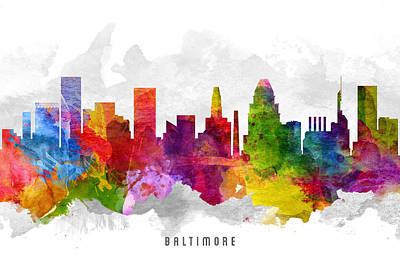 Baltimore Painting - Baltimore Maryland Cityscape 13 by Aged Pixel