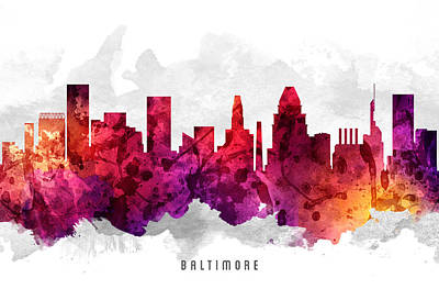 Baltimore Painting - Baltimore Maryland Cityscape 14 by Aged Pixel