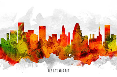 Baltimore Digital Art - Baltimore Maryland Cityscape 15 by Aged Pixel