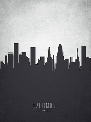 Baltimore Maryland Cityscape 19 Art Print by Aged Pixel