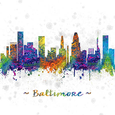 Baltimore Digital Art - Baltimore Maryland Color 03sq by Aged Pixel