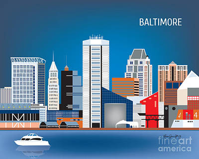 Cute Illustration Digital Art - Baltimore Maryland Horizontal Skyline By Loose Petals by Karen Young