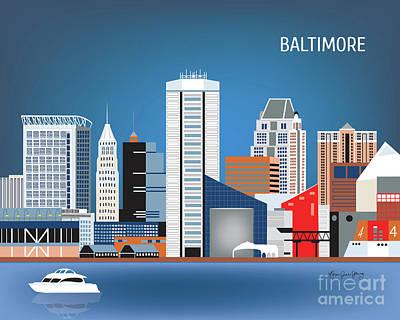Md Digital Art - Baltimore Maryland Horizontal Skyline by Karen Young