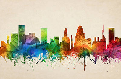 Baltimore Painting - Baltimore Maryland Skyline 05 by Aged Pixel