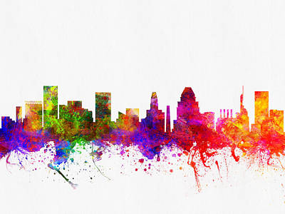 Baltimore Digital Art - Baltimore Maryland Skyline Color02 by Aged Pixel