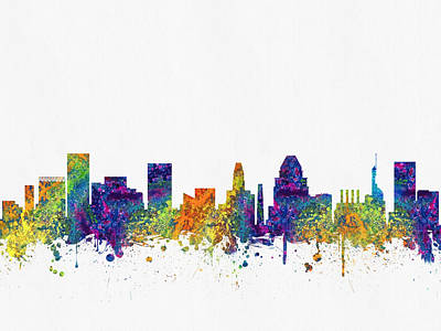 Baltimore Digital Art - Baltimore Maryland Skyline Color03 by Aged Pixel
