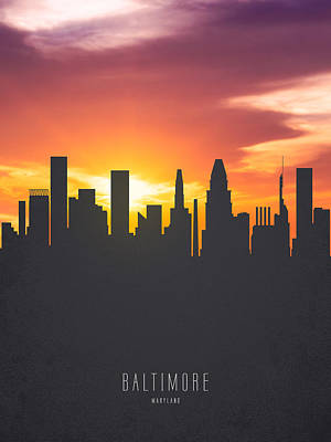 Baltimore Maryland Sunset Skyline 01 Art Print by Aged Pixel
