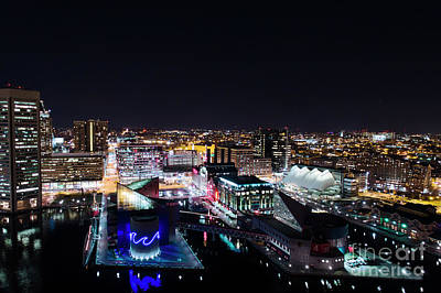 Photograph - Baltimore Night Aerial by Mid Atlantic Aerial