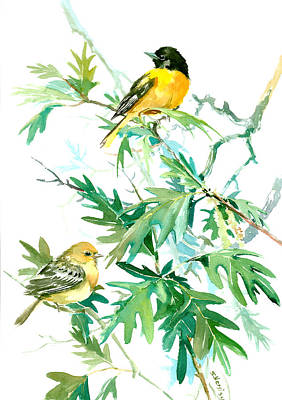 Lovers Art Drawing - Baltimore Orioles And Oak Tree by Suren Nersisyan