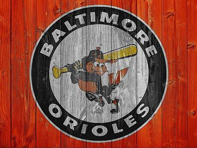 Oriole Mixed Media - Baltimore Orioles Graphic Barn Door by Dan Sproul