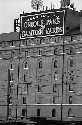 Photograph - Baltimore Orioles Park At Camden Yards Bw #2 by Frank Romeo