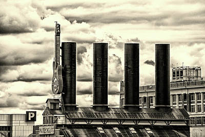 Photograph - Baltimore Power Plant Guitar Stacks Monochrome by Bill Swartwout Fine Art Photography