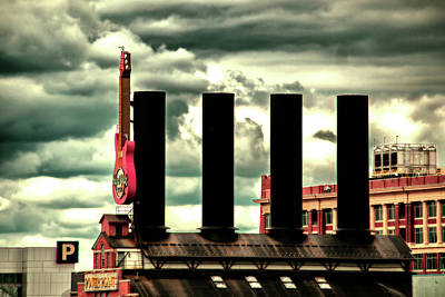 Photograph - Baltimore Power Plant Guitar Stacks Moody Red by Bill Swartwout Fine Art Photography