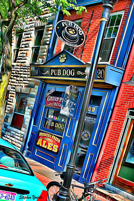 Digital Art - Baltimore Pub Dog by Stephen Younts
