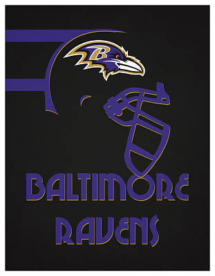 Baltimore Ravens Wall Art - Mixed Media - Baltimore Ravens Team Vintage Art by Joe Hamilton