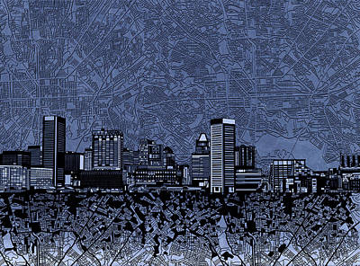 Painting - Baltimore Skyline Abstract 10 by Bekim Art