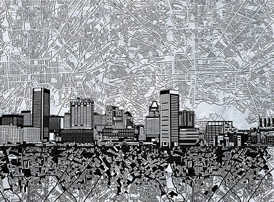 Painting - Baltimore Skyline Abstract 11 by Bekim Art
