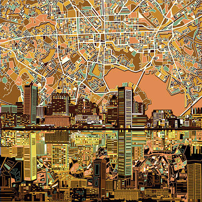 Abstract Skyline Paintings - Baltimore Skyline Abstract 2 by Bekim M