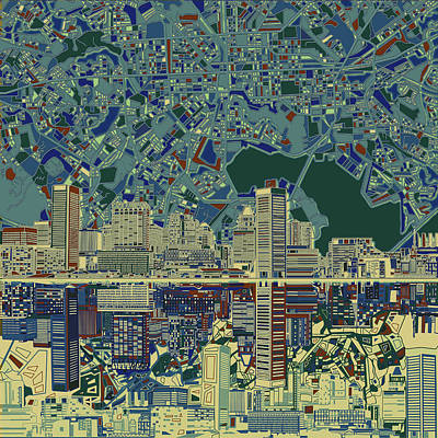 Abstract Skyline Paintings - Baltimore Skyline Abstract 3 by Bekim M