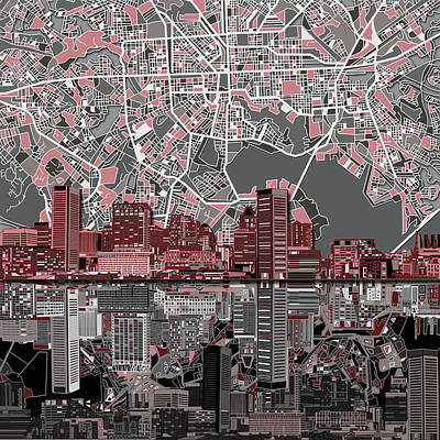 Abstract Skyline Royalty-Free and Rights-Managed Images - Baltimore Skyline Abstract by Bekim M