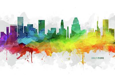 Baltimore Digital Art - Baltimore Skyline Mmr-usmdba05 by Aged Pixel