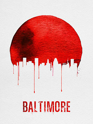 Baltimore Skyline Red Art Print by Naxart Studio