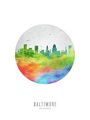 Priska Wettstein Pink Hues - Baltimore Skyline USMDBA20 by Aged Pixel