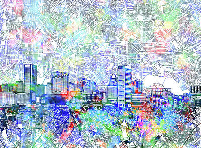 Abstract Skyline Royalty-Free and Rights-Managed Images - Baltimore Skyline Watercolor 10 by Bekim M