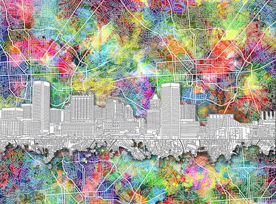 Abstract Skyline Royalty-Free and Rights-Managed Images - Baltimore Skyline Watercolor 12 by Bekim Art