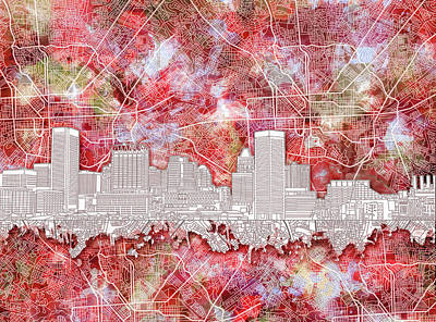 Abstract Skyline Royalty-Free and Rights-Managed Images - Baltimore Skyline Watercolor 13 by Bekim M