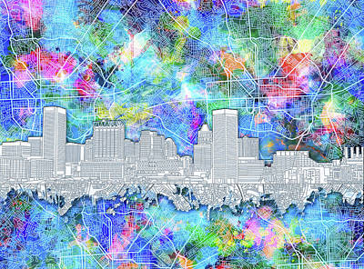 Abstract Skyline Royalty-Free and Rights-Managed Images - Baltimore Skyline Watercolor 14 by Bekim M