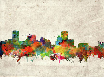 Abstract Skyline Royalty-Free and Rights-Managed Images - Baltimore Skyline Watercolor 2 by Bekim Art